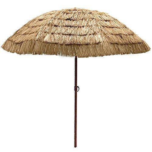 EasyGo   8u0027 Thatch Patio Umbrella   Tropical Palapa Raffia Tiki Hawaiian  Hula Beach Hut Parasol