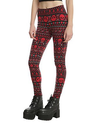 c3bfedaa95b8b Blackheart Red & Black Skull Fair Isle Leggings, RED | Socks and ...