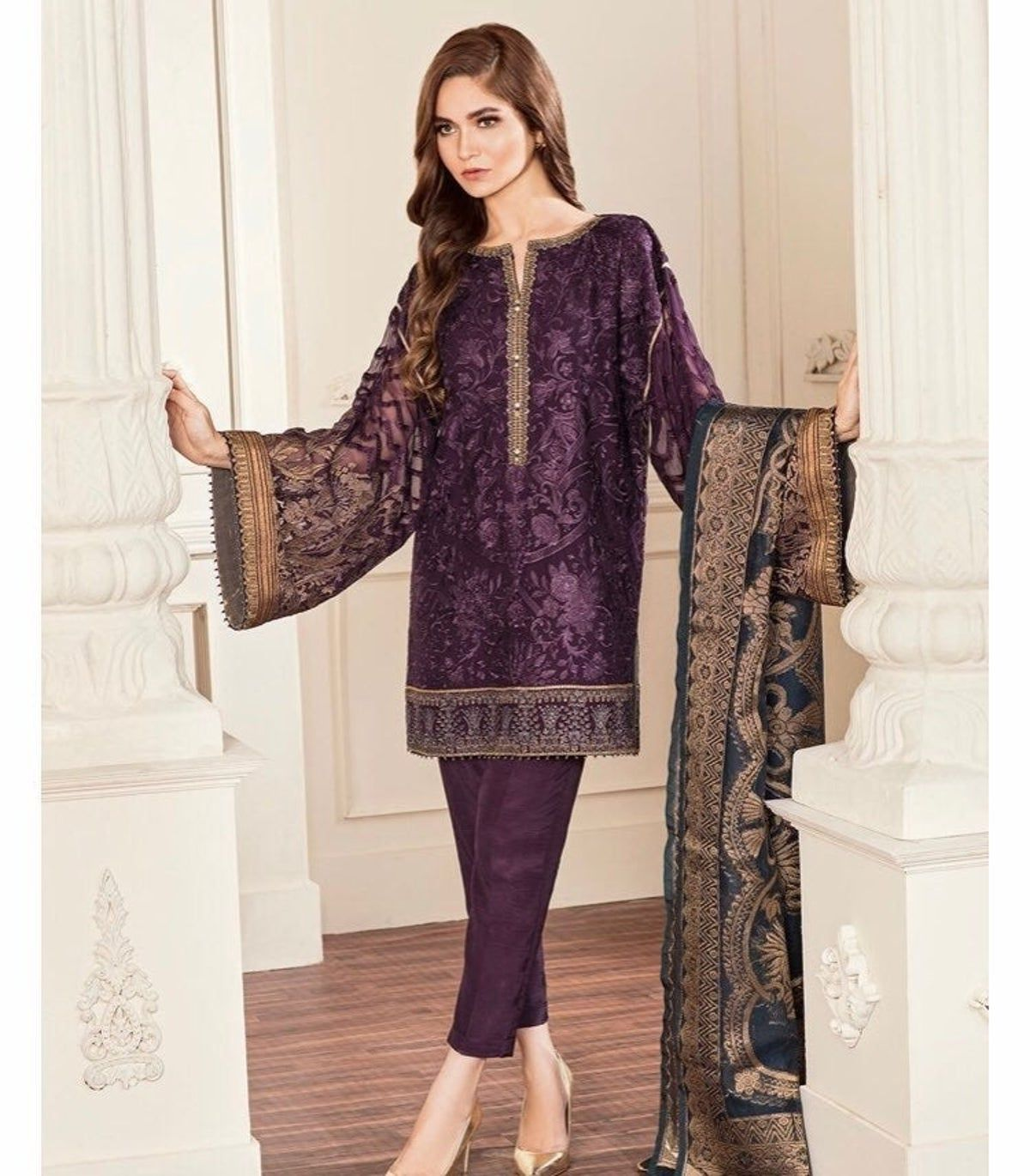 Pakistani  Indian Women/'s Red Embroidered Net and Jamawar 4 Piece Suit Eid and Party Wear Size M