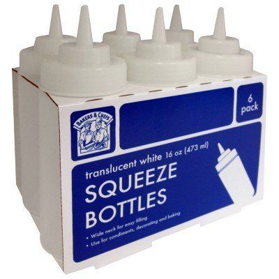 Bakers & Chefs Squeeze Bottles by Bakers and Chefs. $11.00. Wide Neck for easy Filling. Use for Condiments, Decorating and baking. 6 - Translucent White 16oz (473ml) Bottles. Use for Condiments, Decorating and baking