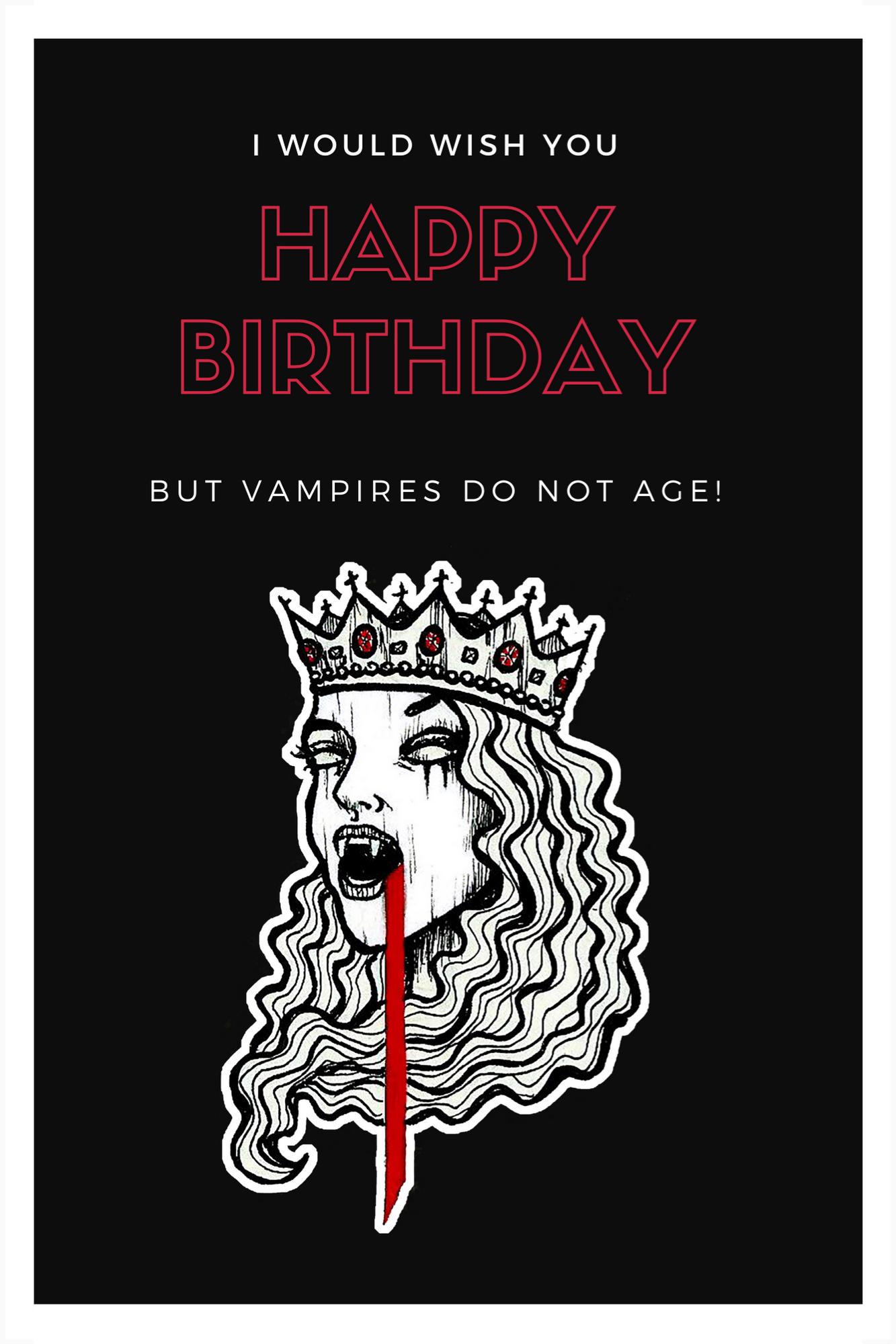 Vampire Birthday Card Greeting Card By Noxbenedicta Happy Birthday Gothic Birthday Cards Funny Birthday Cards