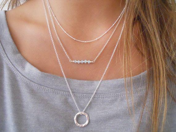 Organic Circle Long Necklace. Layering Silver Necklace. Sterling Silver  Necklace. Ring Necklace ff7f7dafe3217