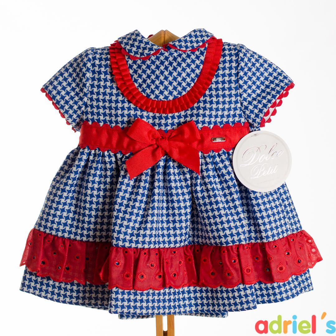 5af72ab009 Vestido para bebé de Dolce Petit a cuadros azules con lazo rojo ...