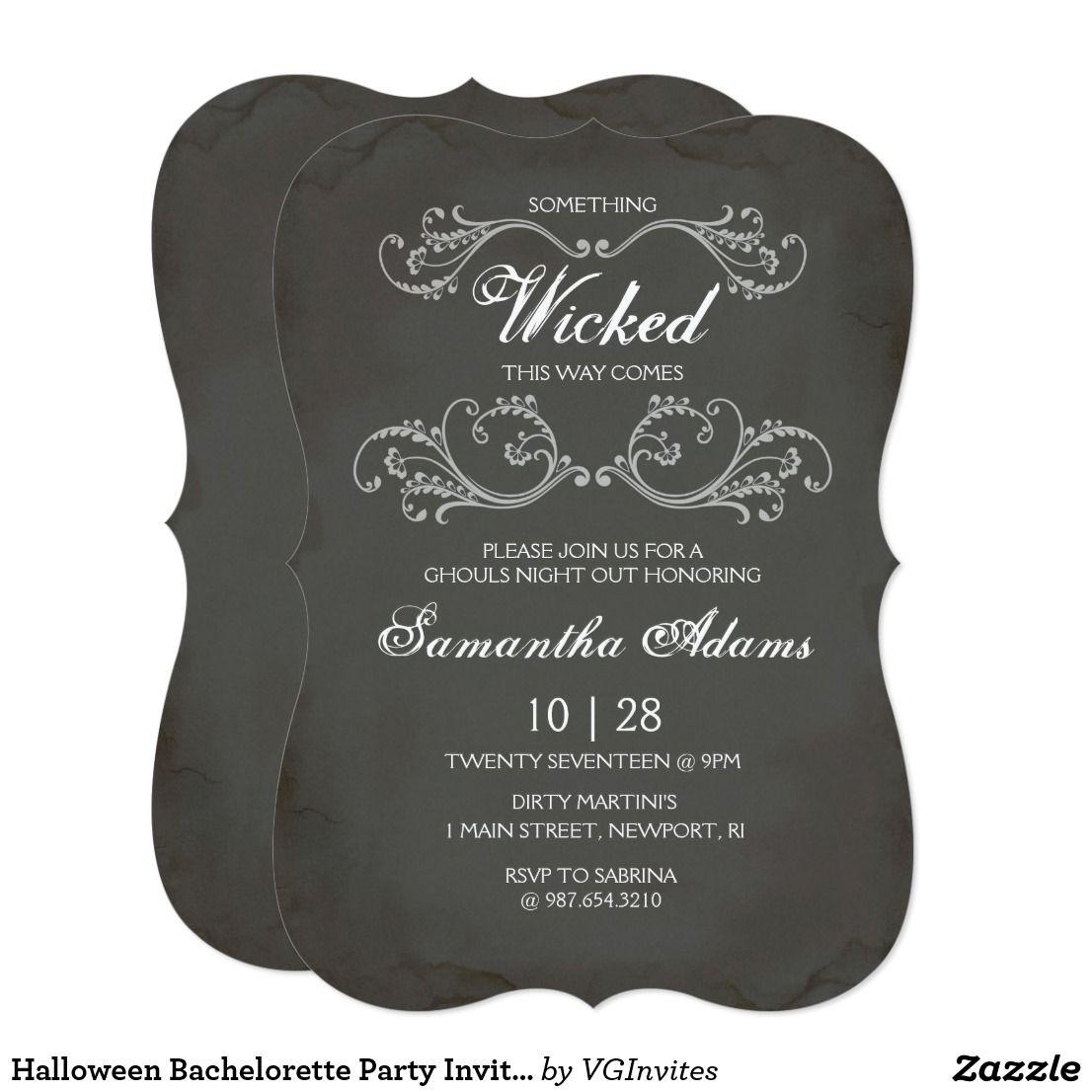 Unusual Halloween Bachelorette Party Invitations Photos ...