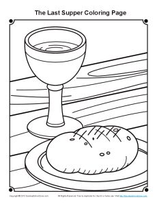 Last Supper Coloring Page for Maundy Thursday on Sunday
