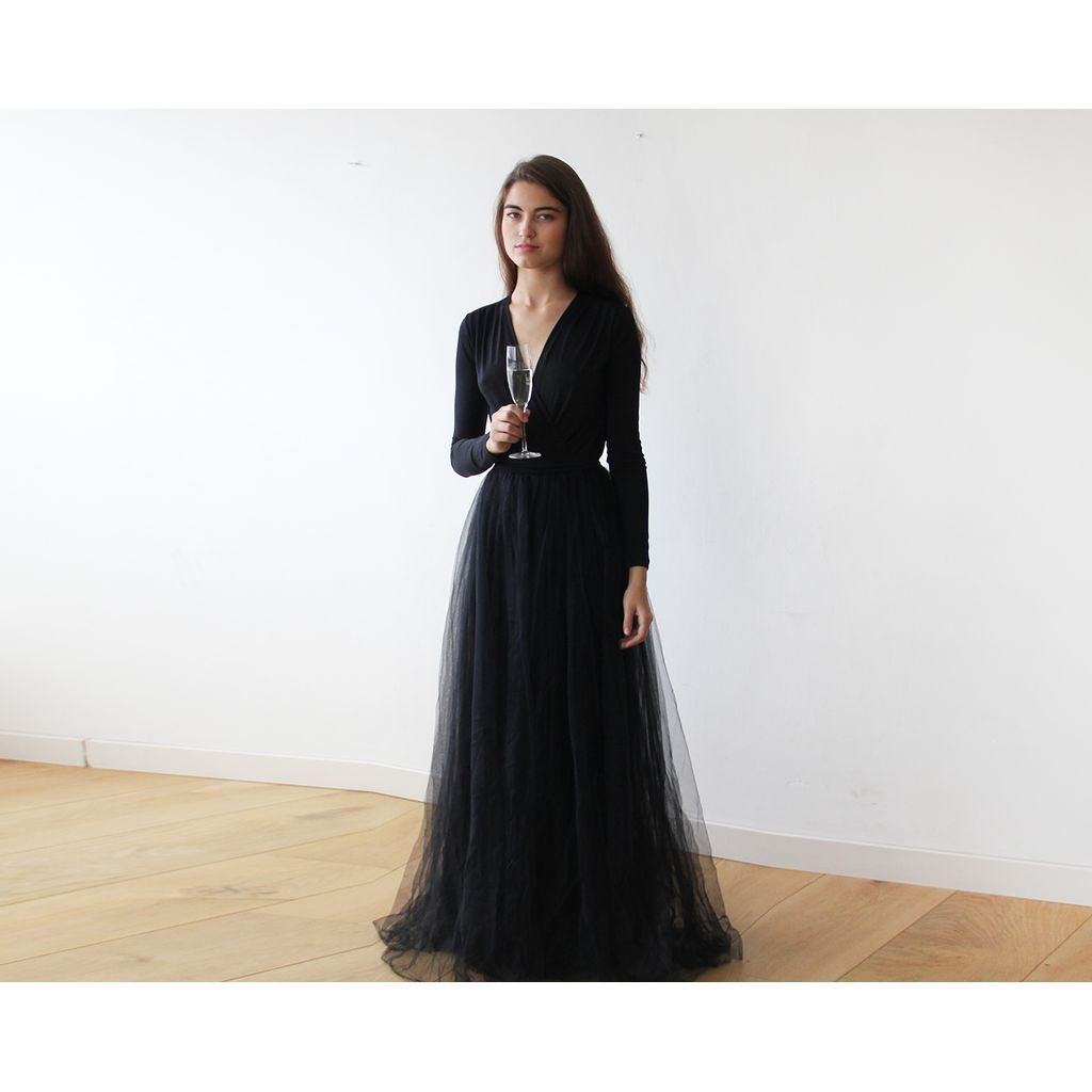Black maxi tulle dress with long sleeves black maxi and products
