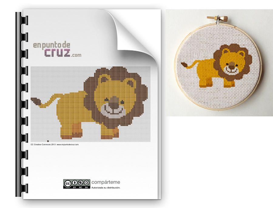 Patrón punto de cruz gratis león | Cross Stitch | Pinterest | Punto ...