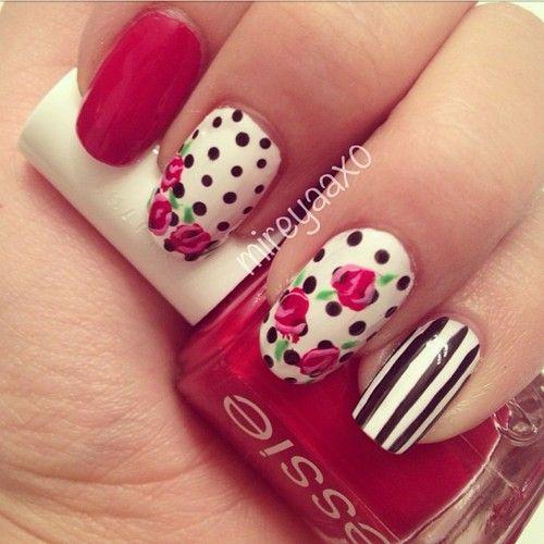 17 Flower Nail Art Ideas. Rose Nail DesignRose ... - 17 Flower Nail Art Ideas Pastel Nails, Flower Designs And Pastels