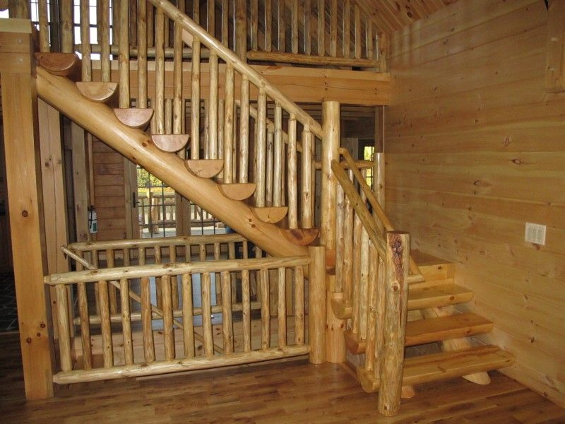 log stairs with rustic railing railing stairs. Black Bedroom Furniture Sets. Home Design Ideas