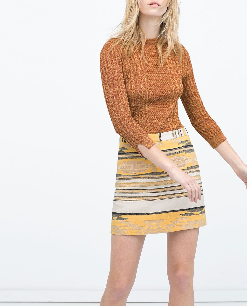 94c718886 Imagen 1 de FALDA JACQUARD ETNICA de Zara   Estilo. Outfits!   Falda ...