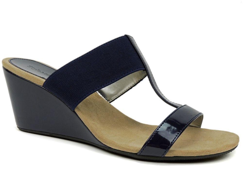5f00d4cfb70 Women s Vern Wedge Sandals Navy Blue Size 8 M  Styleco  Slides   SummerVacationBeachCasual