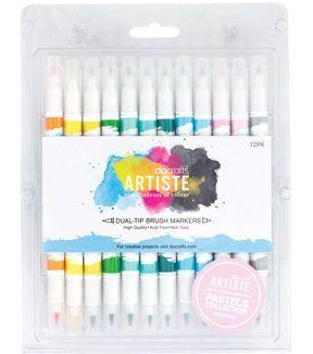Artiste Dual Tip Brush Markers 12 Pkg Pastel Brush Markers