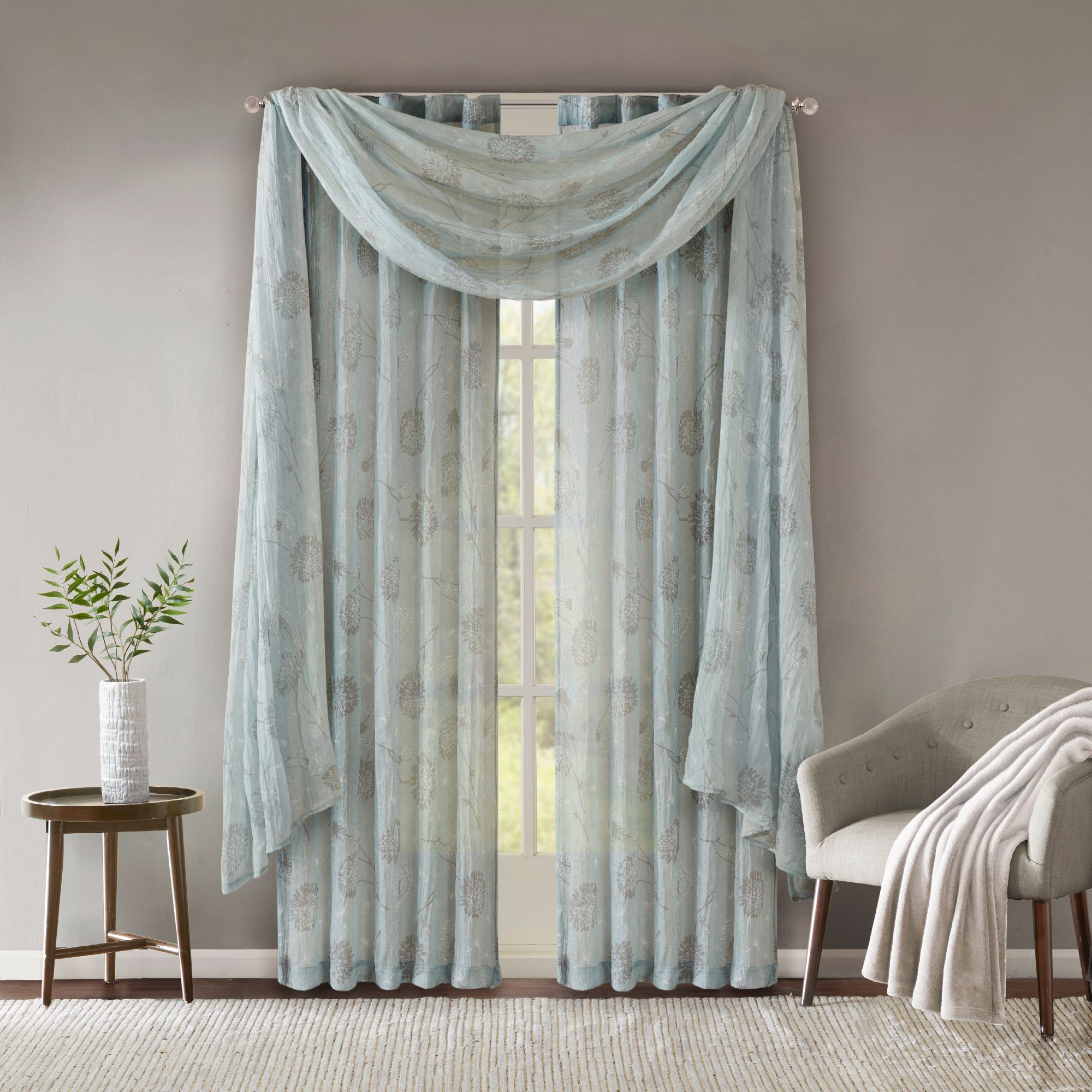 Home Essence Aer Printed Crushed Scarf Sheer Walmart Com Valances For Living Room Home Essence Rod Pocket Curtain Panels #scarf #curtains #for #living #room