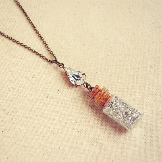 Tiny Bottle Necklace With Silver German Glass Glitter And