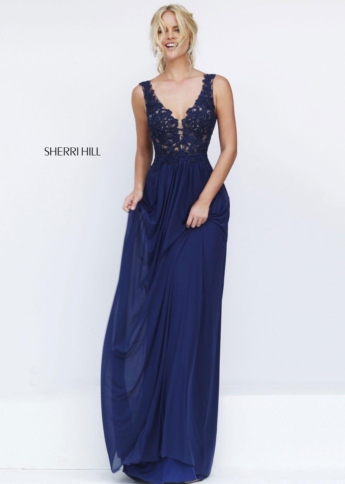 63cf0bc803a Sherri Hill 50255 Navy Enticing Beaded Lace Dress