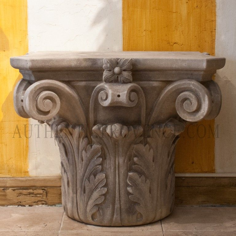 Beautiful Corinthian Capital With Acanthus Scrollused As Console Table