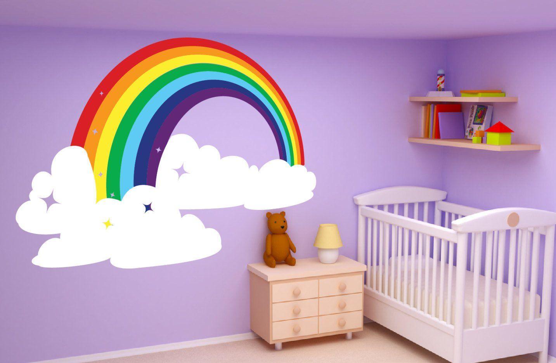 Rainbow Clouds Wall Art Decor Dcal Pegatina Mural Niños Etsy Kids Room Murals Kids Room Art Rainbow Room