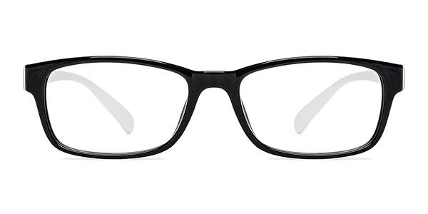 3c4defd6964 The contrasting colors of these black and white eyeglasses create a fresh  urban look. This acetate frame features a glossy black frame front  bordering ...
