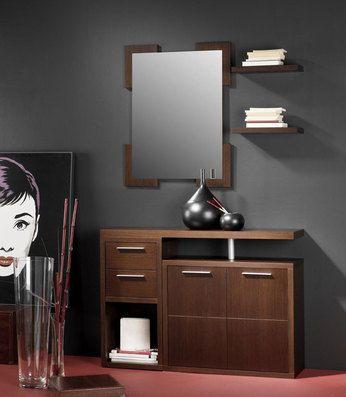 Meuble d\u0027entrée avec miroir et meuble à chaussures contemporain