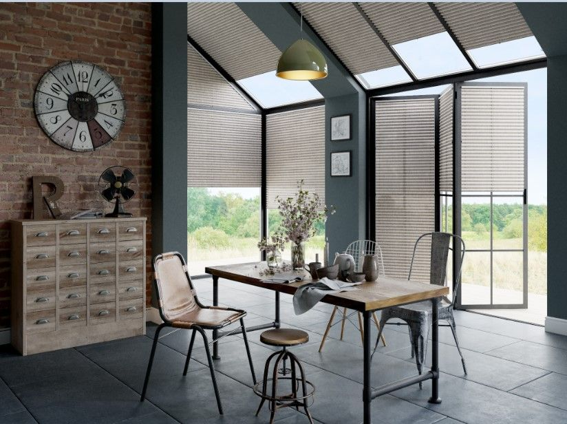 Industrial chic trend. Made-to-measure Duette® blinds in Elephant Batiste. Energy saving blinds. Conservatory blinds. Bespoke blinds. Contemporary industrial home decor inspiration.