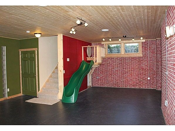 finished basement ideas for kids. a slide built into the basement stairway! oh cute...kids and \ finished ideas for kids