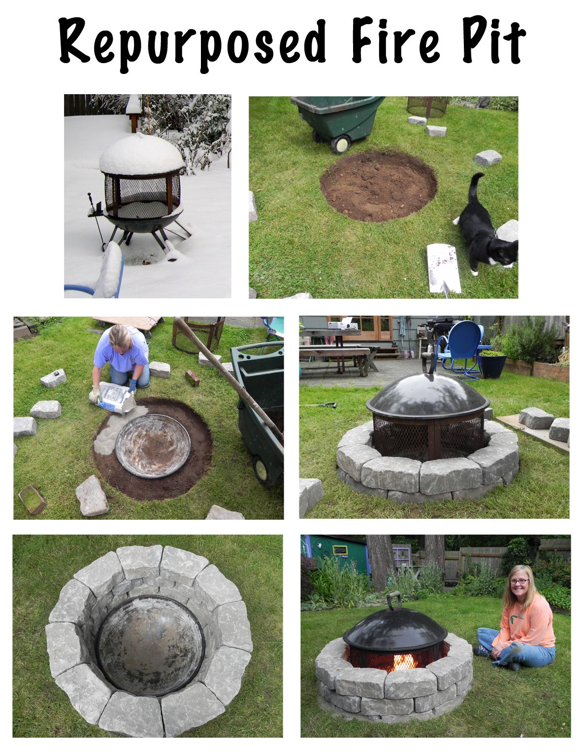 turn the rolling fire pit into a permanent backyard fixture