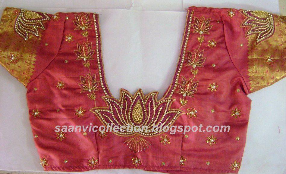 2dbd0e2da5a45d Lotus Blouse Peach Saree, Lotus Design, Bridal Blouse Designs, Maggam  Works, Kids