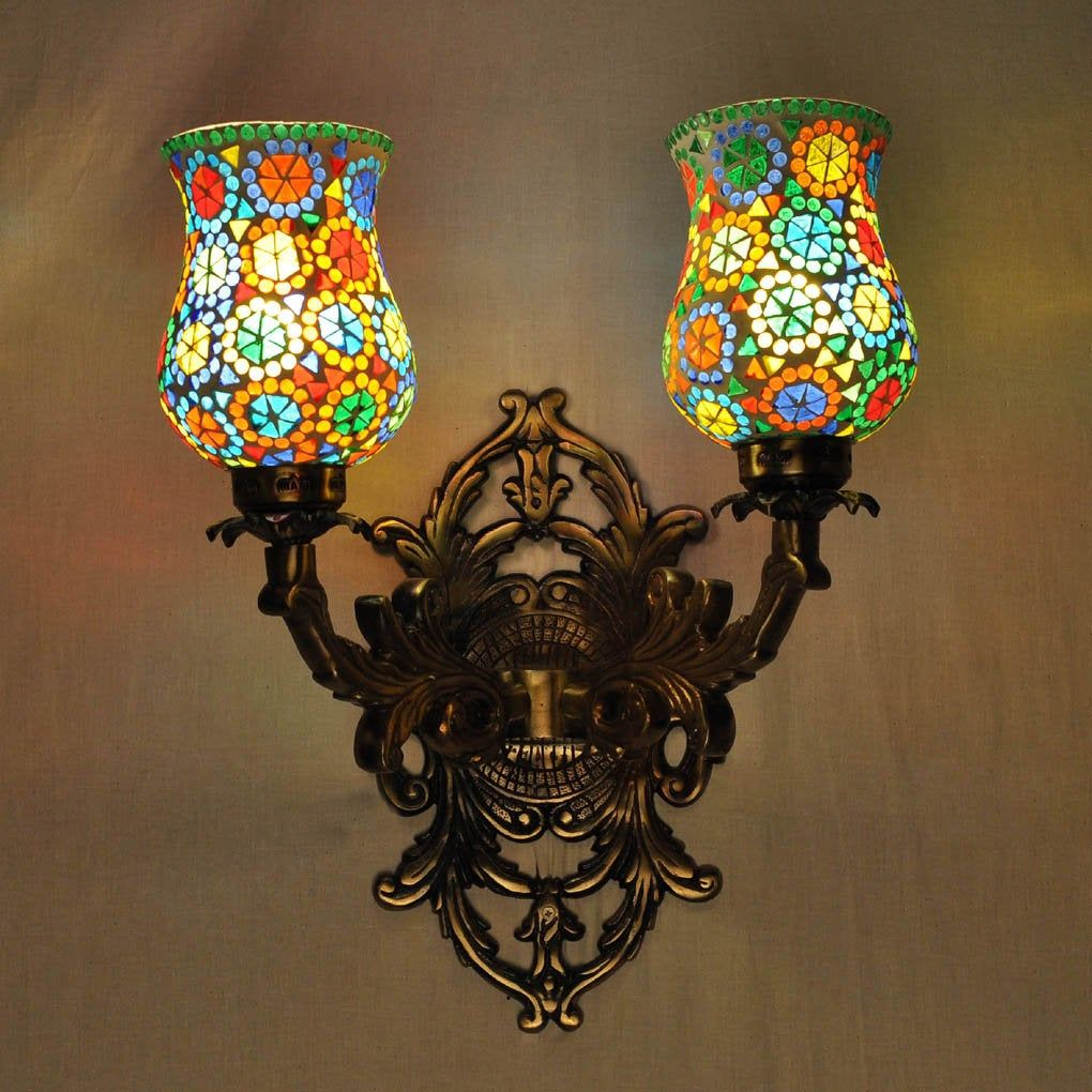 Sconces Wall Decorations 2 Light Lamp Retro Indian Mosaic Glass