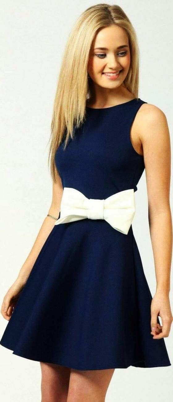 ee1863502e48 Shopo.in   Buy Royal Blue And White Bow Short Dress online at best price in  New Delhi