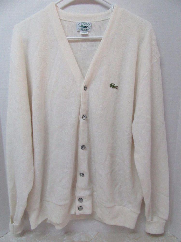IZOD LACOSTE Men's Vintage Off White Cardigan Sweater Crocodile XL ...