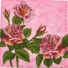 028  jolies roses    1 serviette papier format lunch