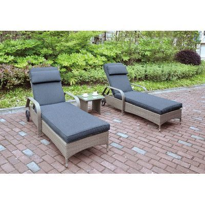 JB Patio 3 Piece Seating Group with Cushion Color: