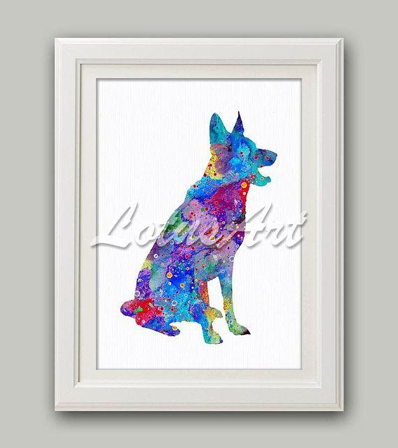 German Shepherd Watercolor Print Dog Wall Art German Shepherd Home Decor  Animal Lover Gifts Colorful Dog
