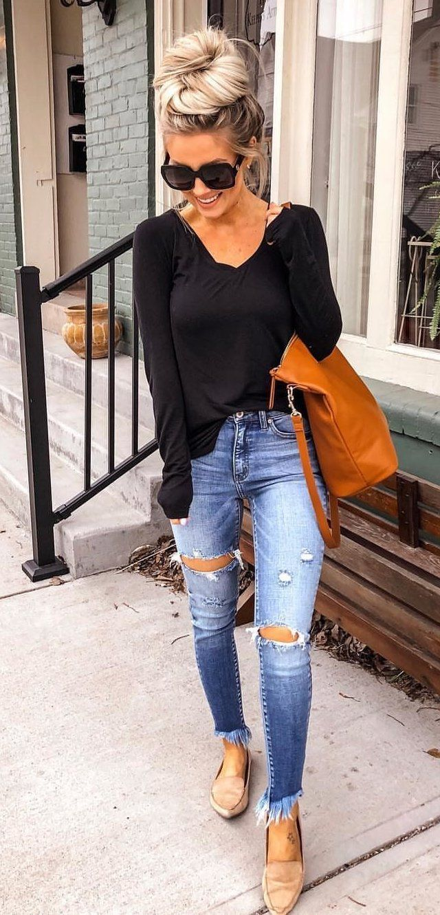 black sweater and distressed blue jeans #spring #outfits  Spring
