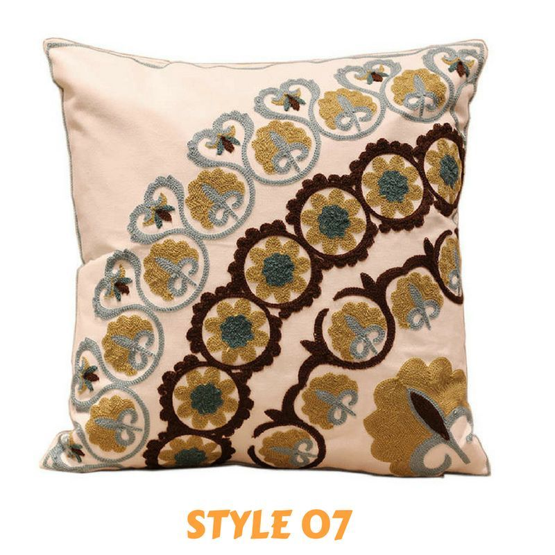 Mandala 100% Cotton Embroidery Square Cushion Cover (Various Styles/Sizes) - Free Worldwide Shipping
