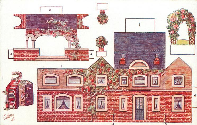 house with arbor & potted plants - vintage Tuck cut-out postcard
