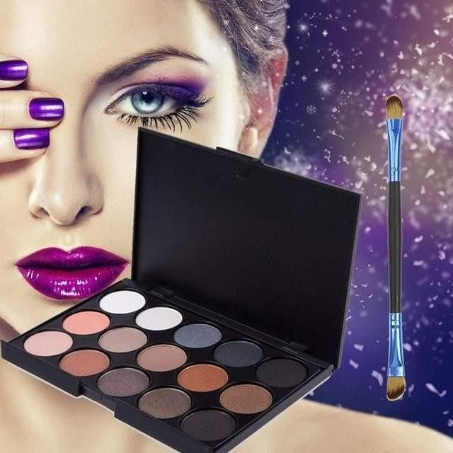 15 Color Matte Shimmer Eye Shadow Palette with Brush 3 Palette Choices