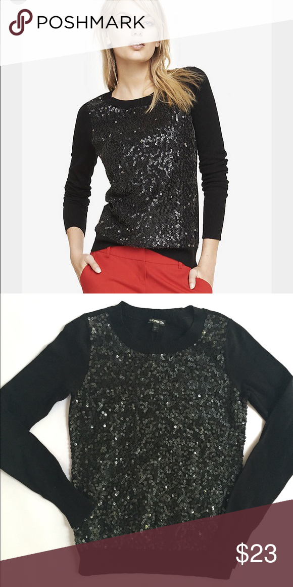 New Express sequin sweater New black sweater with sequin front ...