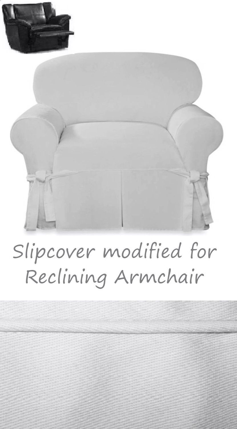 Enjoyable Reclining Chair Slipcover White Farmhouse Twill Sure Fit Pdpeps Interior Chair Design Pdpepsorg