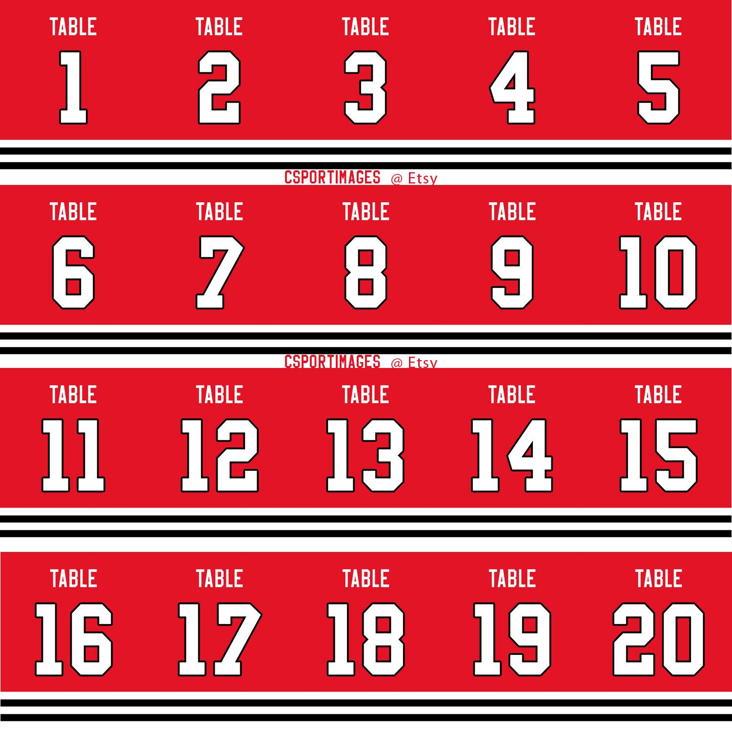 Chicago Black Hawks Themed Table Numbers (1-20) - 5x7 size - Custom ...