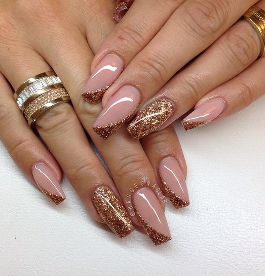 Nail Art Warm Copper French Diagonal Nailart Daily Nails Glue On Nails Nails Pink Nails