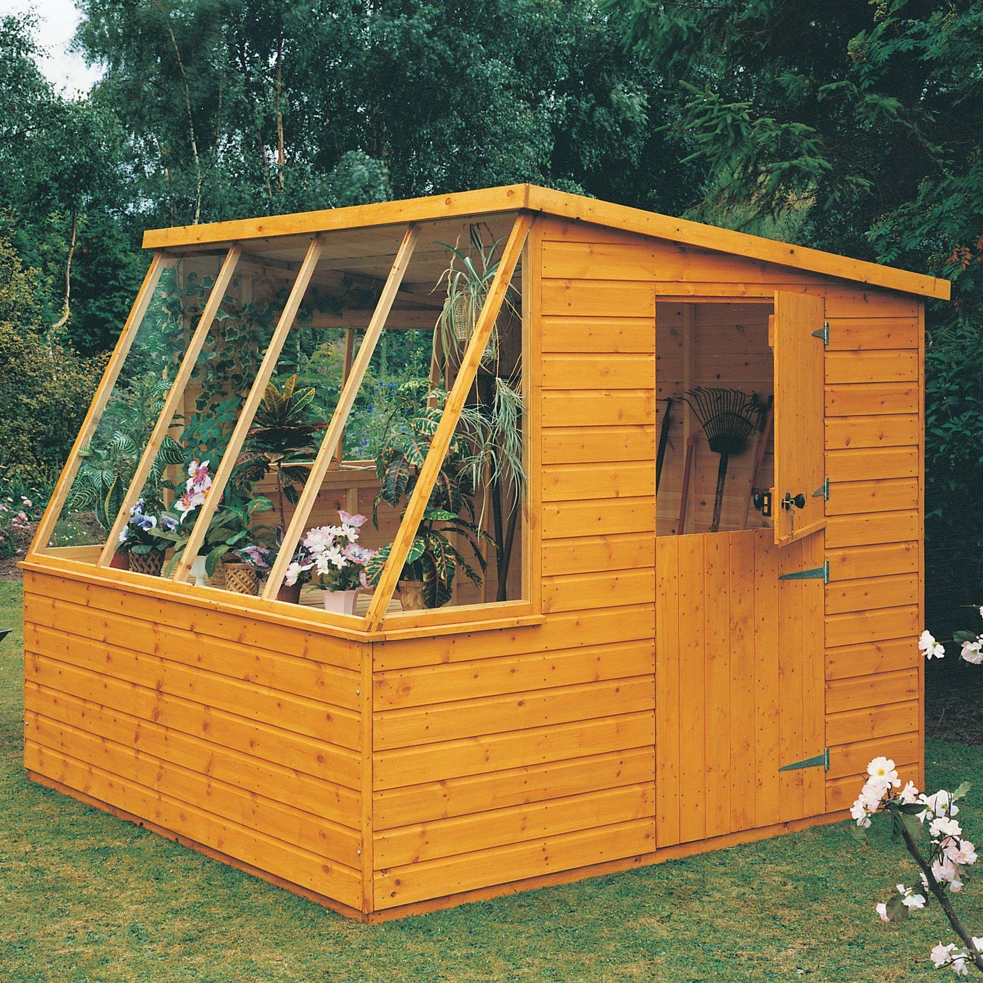8x8 pent shiplap wooden potting shed departments diy