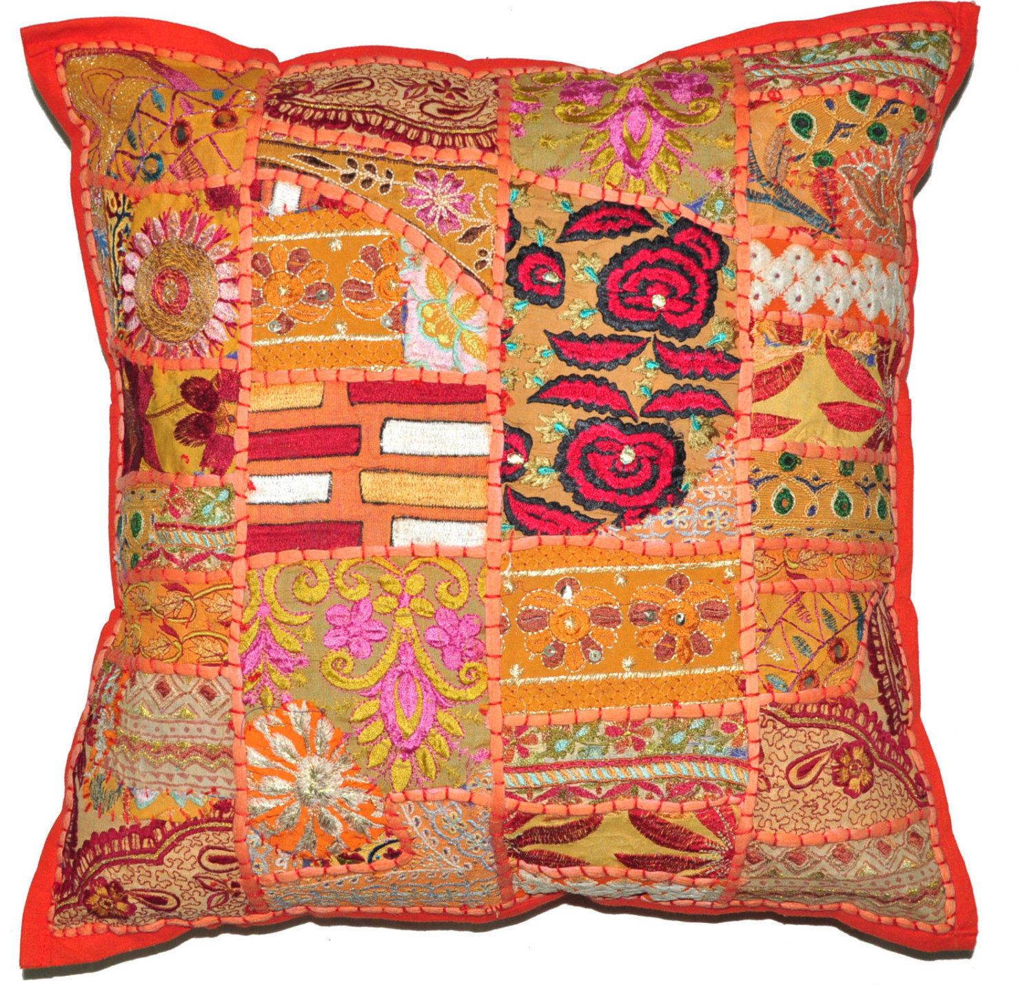 X xl orange decorative accent pillow gypsy throw pillow for