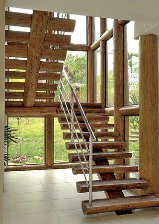 Decor Guarda-corpo de escada Casas, Campo y Modelos de casas rusticas - escaleras de madera rusticas