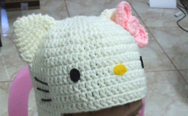 Patrón de gorro de crochet de Hello Kitty | Crochet de hello kitty ...