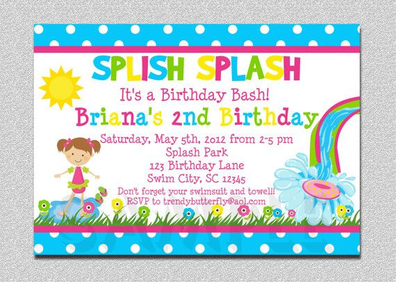 Pool Party Birthday Invitation Waterslide Birthday Invitation – Water Slide Party Invitations