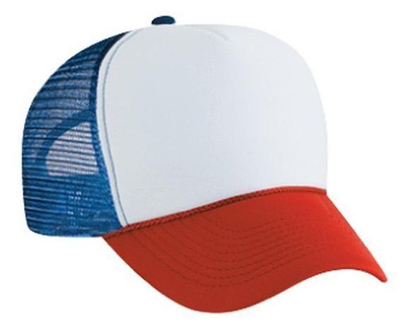 White Red Blue 3 tone Trucker Hat mesh hat snap back hat blank headwear  4b3474c0162d