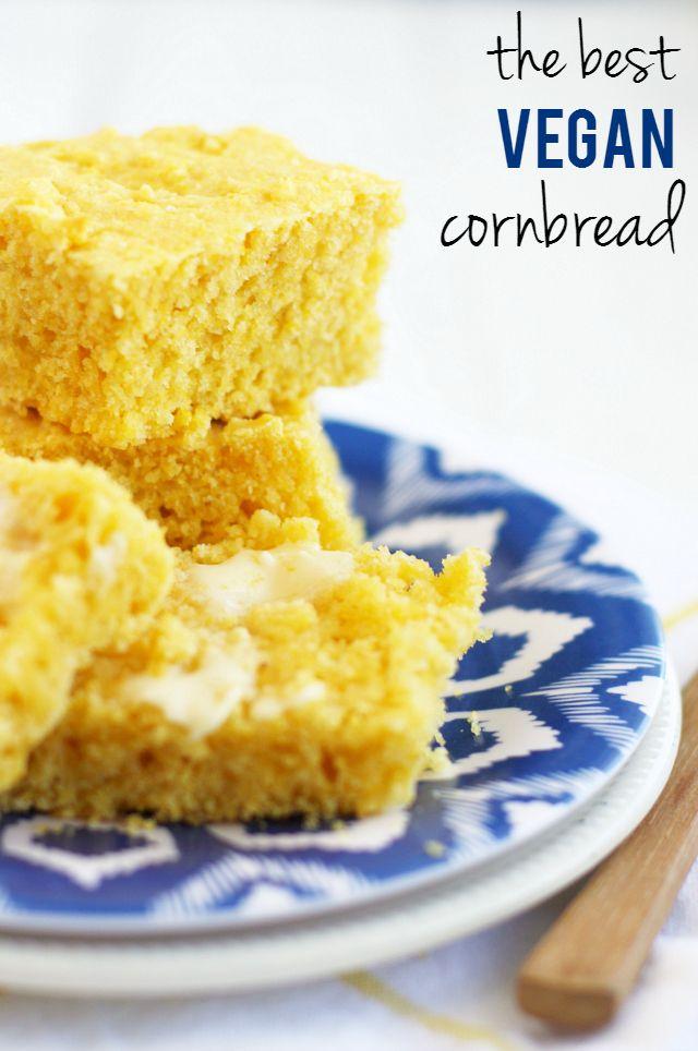 The Best Vegan Cornbread The Pretty Bee Recipe Vegan Cornbread Vegan Dishes Vegan Thanksgiving