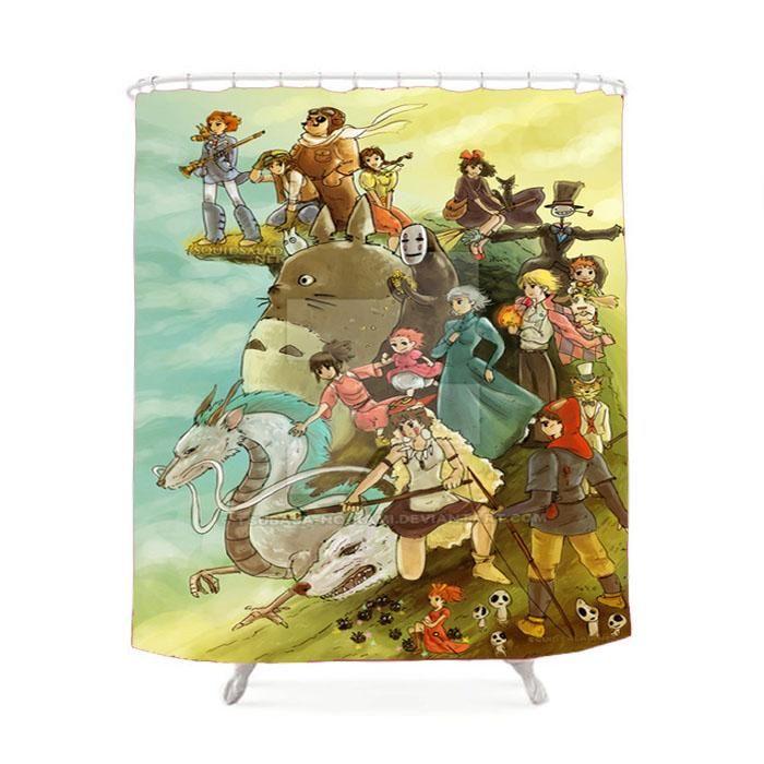 Studio Ghilbli Cartoon Shower Curtain Studio Ghibli Movies