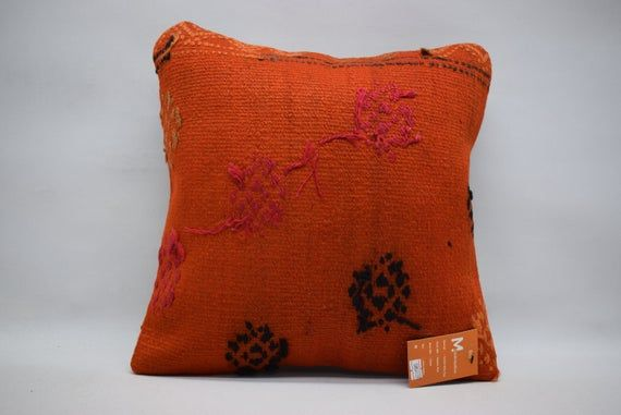 bohemian pillow / throw pillow / naturel kilim pillow / floor pillow 16x16 decorative pillow / boho